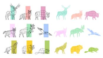 Animali Set lineare poligonale vettore