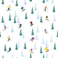 seamless pattern di sci collina