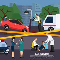 Illustrazione di stile piano incidente d'auto