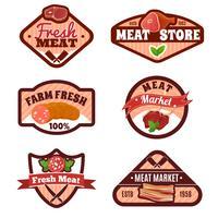 Emblemi del mercato della carne impostati vettore