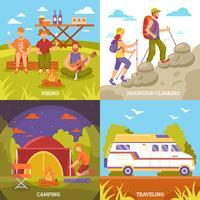 Set di composizioni ricreative all'aperto vettore