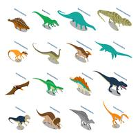 Set di icone isometriche di dinosauri vettore