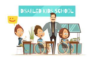 Apprendimento dell'illustrazione di bambini disabili vettore