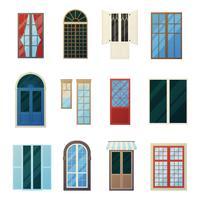 Set di icone di pannelli finestre di Muntin Bars vettore