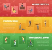 Set di banner di attività fisica