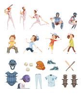 Icone di stile retrò di baseball del fumetto impostate vettore