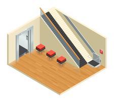 Interno isometrico dell'ascensore delle scale vettore