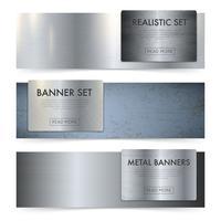 Set di bandiere realistiche di texture di lastre di metallo vettore