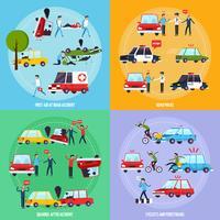 Icone di concetto di incidente stradale impostate