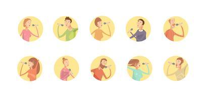 Set di icone rotonde di karaoke vettore