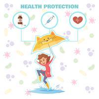 Concetto di design di protezione sanitaria vettore