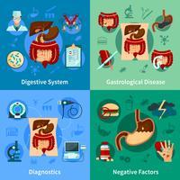 Set di icone del sistema digestivo