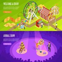 Disegno di pagina Web delle insegne orizzontali isometrica del circo