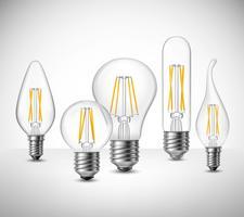 Insieme realistico delle lampadine principali del filamento vettore