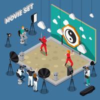 Illustrazione isometrica di set cinematografico