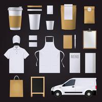 Caffè Corporate Identity Set vettore