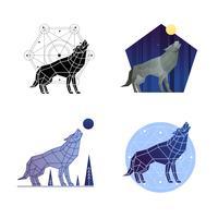 Set di lupi ululanti vettore