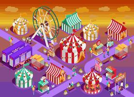 Illustrazione isometrica delle attrazioni del circo del parco di divertimenti