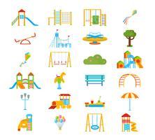 Set di elementi piatti del parco giochi