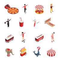Set di icone isometriche circo vettore