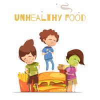 Poster di cartone animato effetti nocivi cibo spazzatura vettore