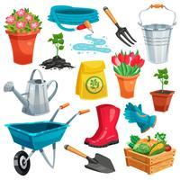 Set da giardino con germoglio e inventario vettore