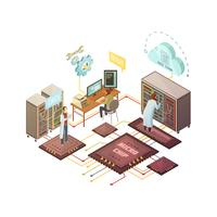 Illustrazione isometrica sala server vettore