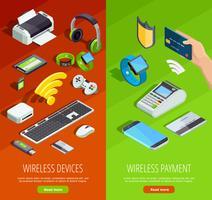Set di banner verticale isometrica tecnologia wireless