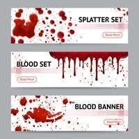 Set di bandiere orizzontali di schizzi di sangue vettore