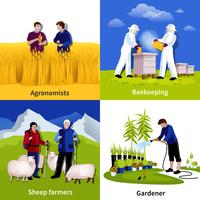agricoltori giardinieri 4 icone piane quadrate vettore