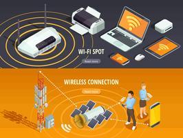 Set di banner orizzontale isometrica tecnologia wireless vettore