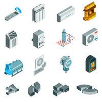 Set di icone isometriche di raffreddamento sistema di riscaldamento