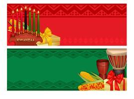 Insieme di bandiere variopinte di celebrazione di festa di Kwanzaa