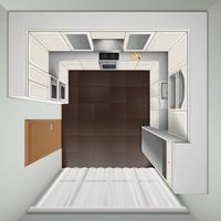 Cucina di lusso Vista dall'alto Immagine realistica vettore