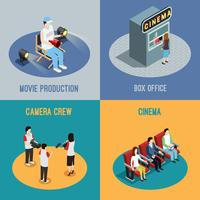 Cinema Movie 4 Isometric Icons Square vettore