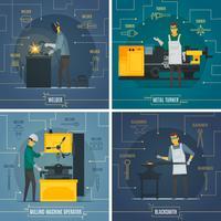 Icone piane di elementi 4 di Infographic metallurgici vettore