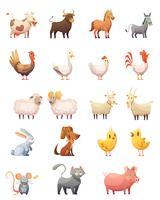 Insieme del fumetto degli animali da allevamento