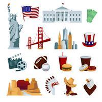 Set di icone piane USA vettore