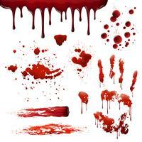 Spruzzatori di sangue Set di schemi di macchie di sangue realistiche vettore