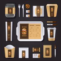 burger bar corporate identity vettore