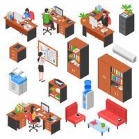 Set di elementi di ufficio isometrica