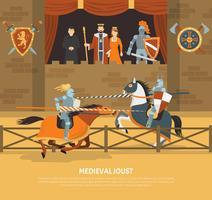 Illustrazione di giostra medievale vettore