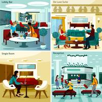 Set di icone di interni hotel concetto