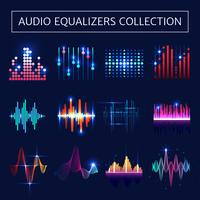 Set di equalizzatori audio al neon