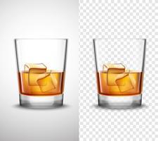 Whisky Shots Glassware Bandiere realistiche trasparenti vettore
