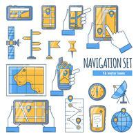 Set di icone di colore piatto di navigazione