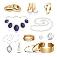 Insieme realistico degli accessori dei gioielli vettore