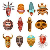 Set di maschere tribali etniche africane vettore
