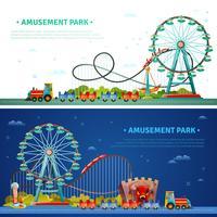 Bandiere orizzontali del parco di divertimenti vettore