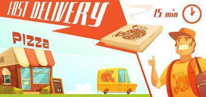 Consegna veloce del concetto di design della pizza